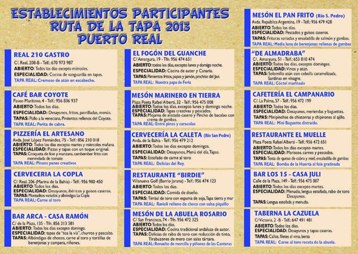 Puerto real celebra la ruta de la tapa del 5 al 30 de mayo - Pizzeria el muelle puerto real ...