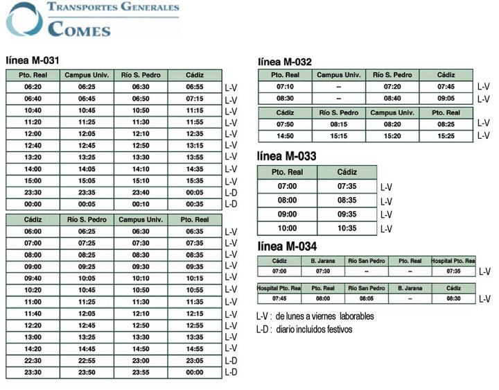 Horario de autobuses for Horario correos puerto real